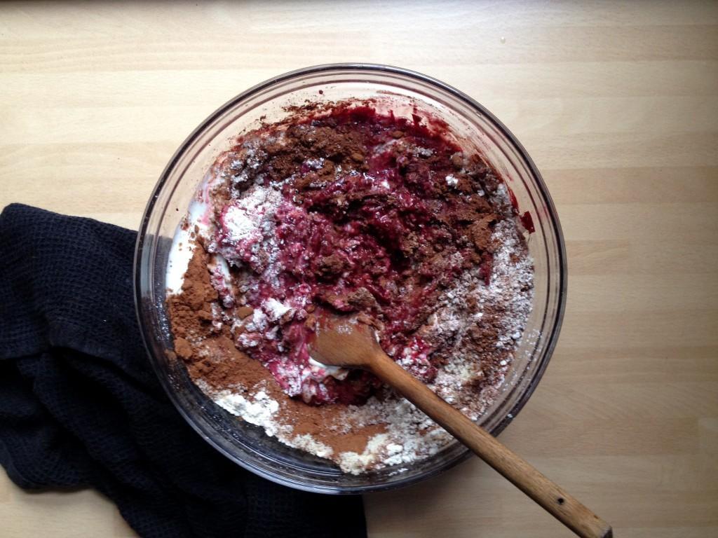 beetroot chocolate meringue cake