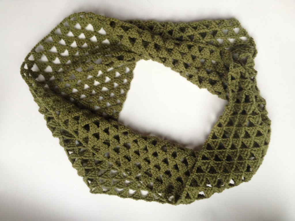 Free Triangle Infinity Scarf Crochet Pattern : Triangle Crocheted Infinity Scarf - Friendly Nettle