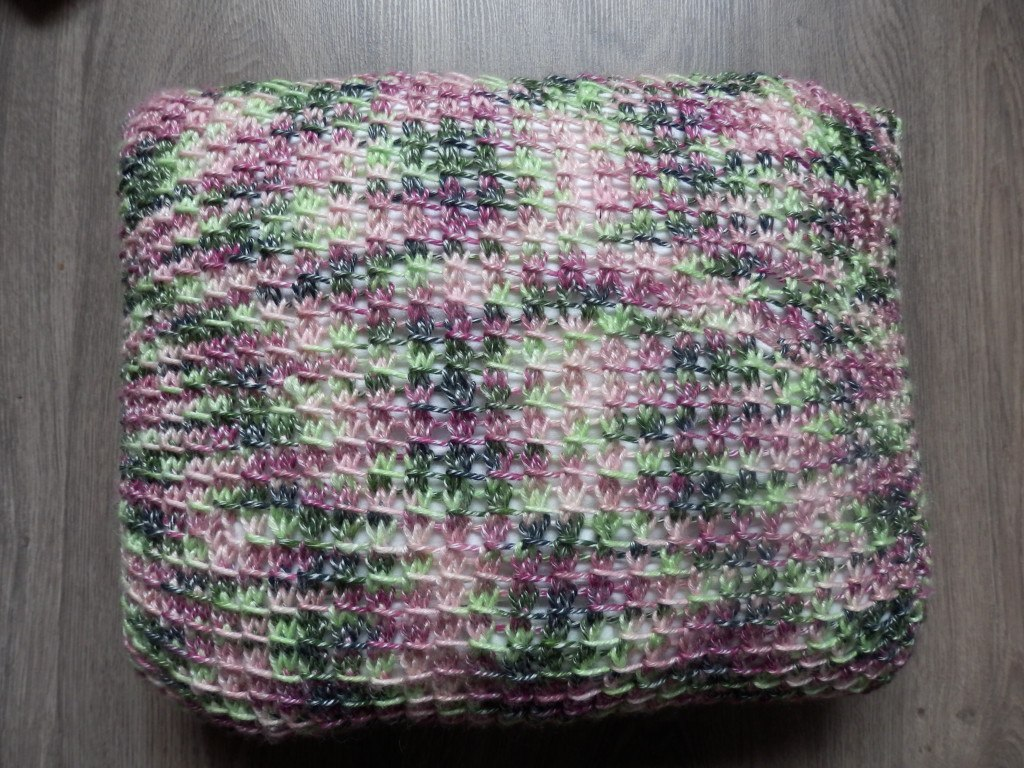 Knitted pillow with bamboo stitch