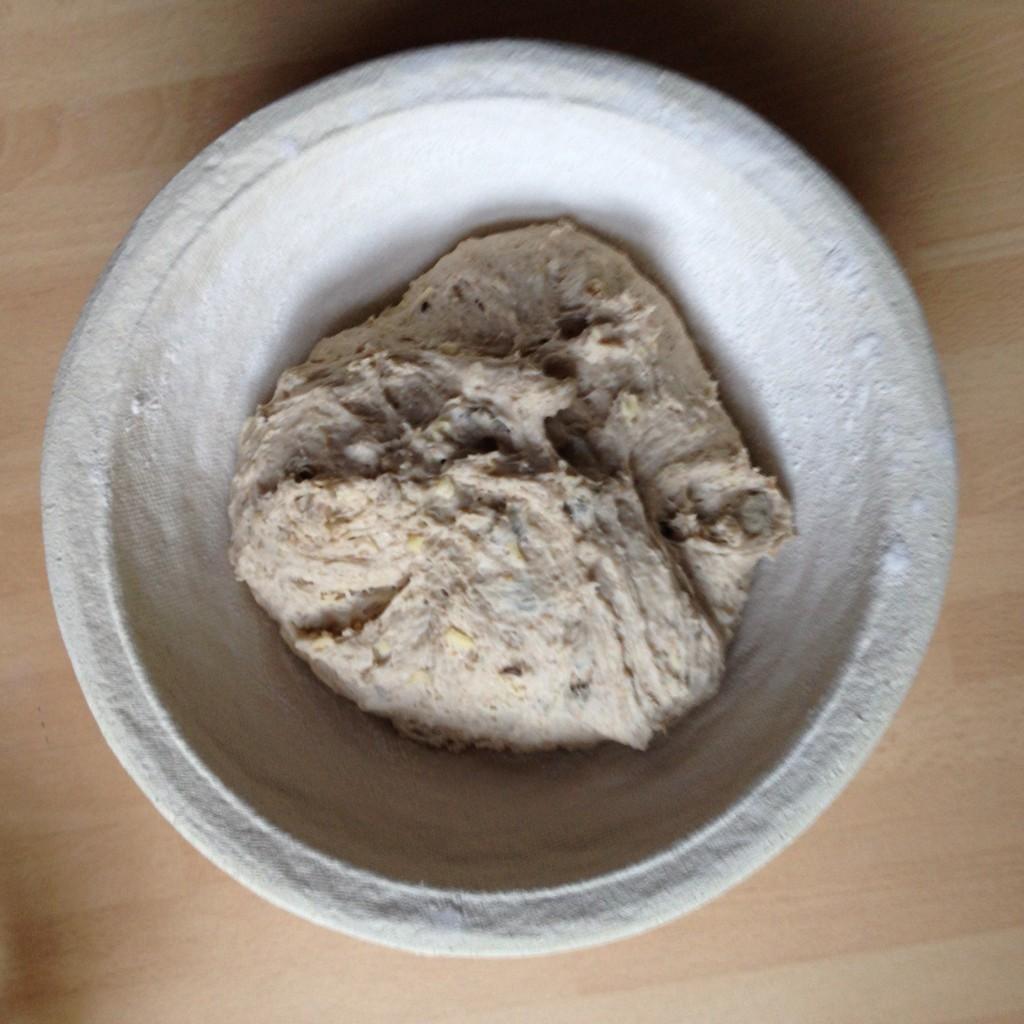 Potato bread dough in prooving basket