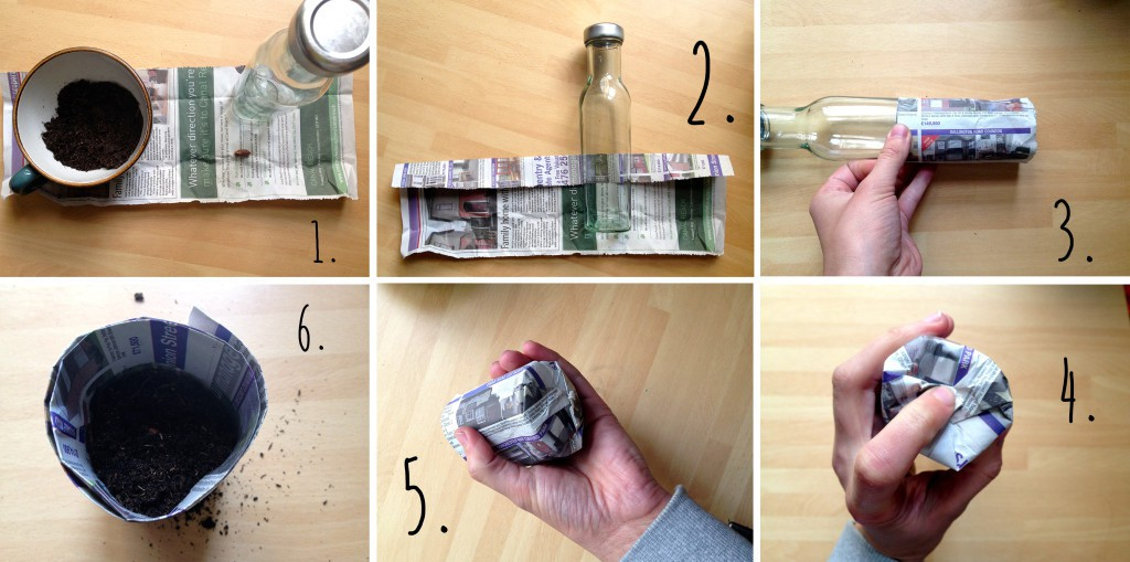 Make a newspaper pot planting pot