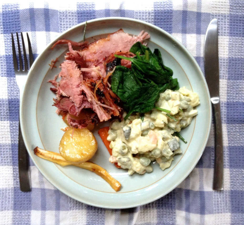 Gammon roast with side salads and stuff