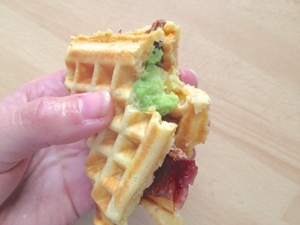 bacon avocado waffle sandwich