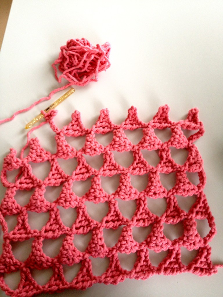 triangle crocheted pillow