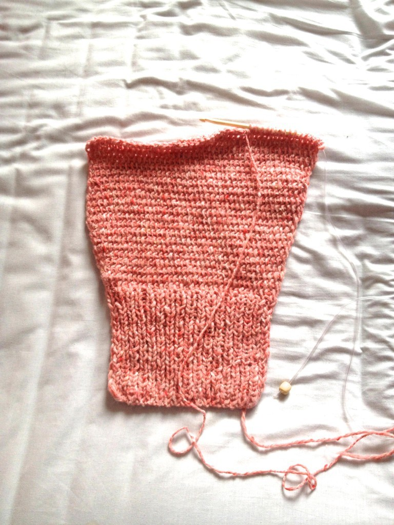 Progress on my knitted cardigan
