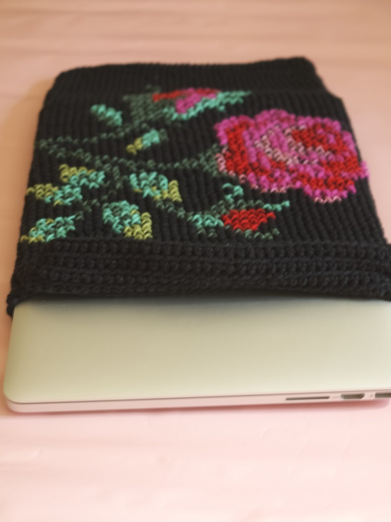 Crocheted and cross stitched laptop cover, DIY instructions incuded