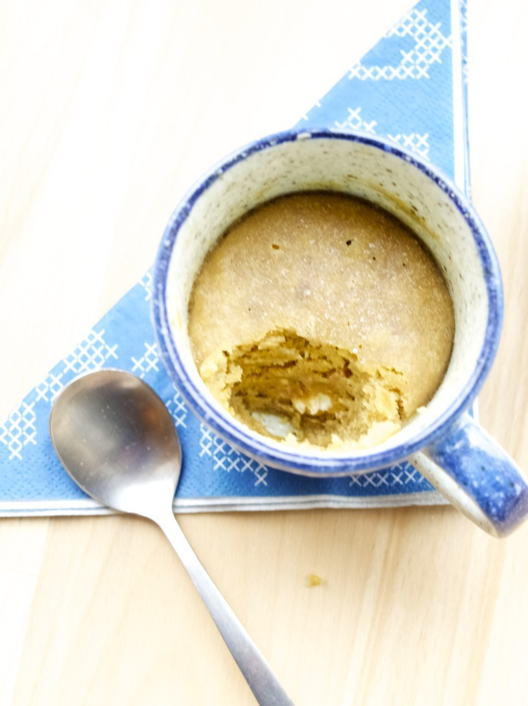Peanut butter and white chocolate cookie in the mug