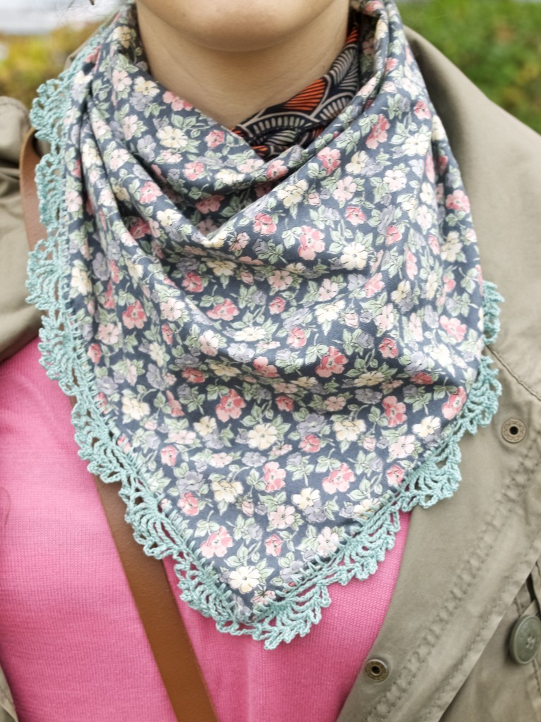 Lace edge scarf DIY with crochet trim chard