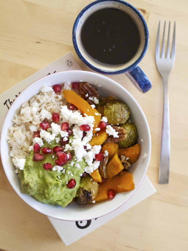 Roasted veggie, curried avocado and coconut rice bowls