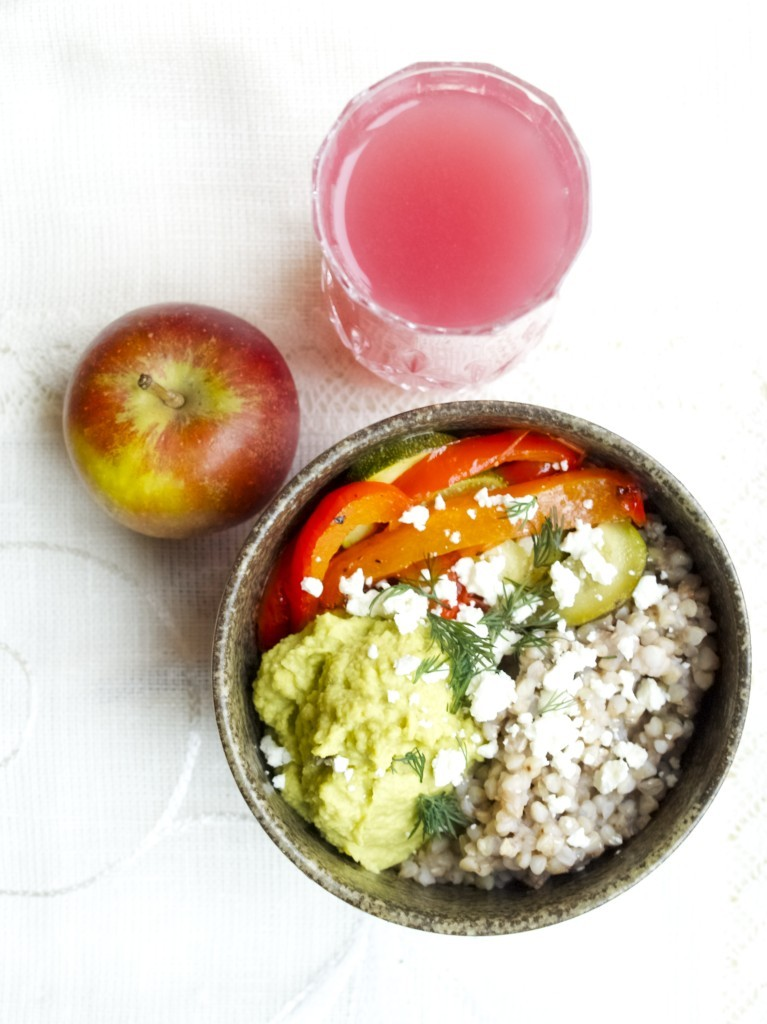 Buckwheat, roasted veg and avocado hummus bowls
