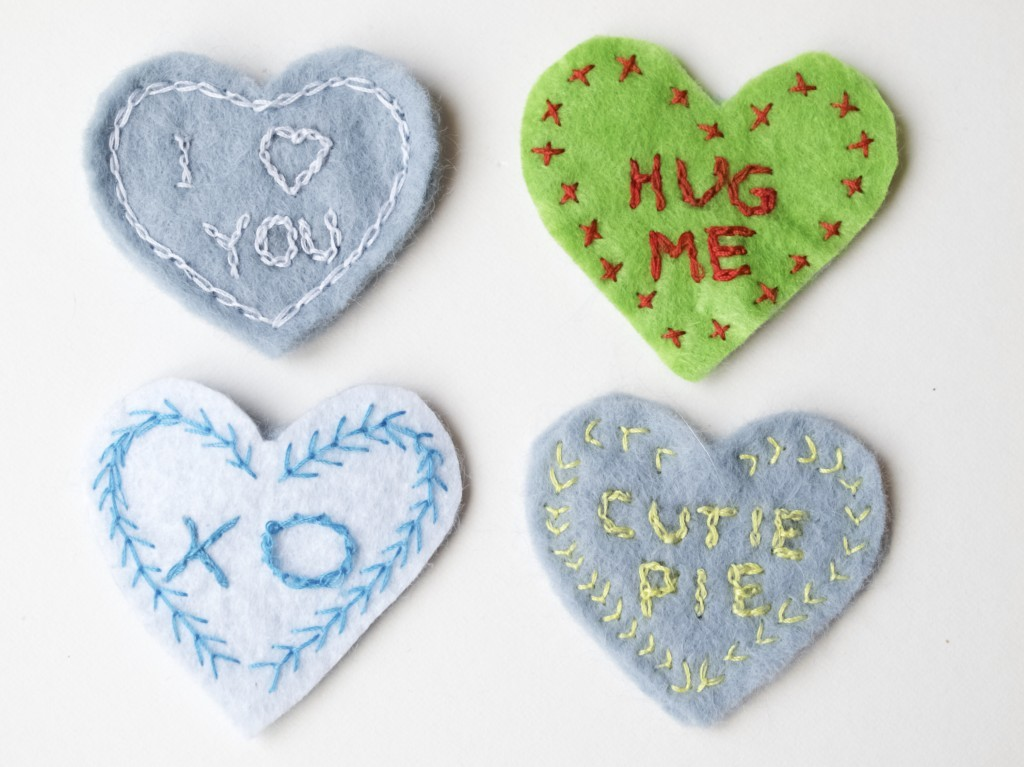 Hand stitched fridge magnets
