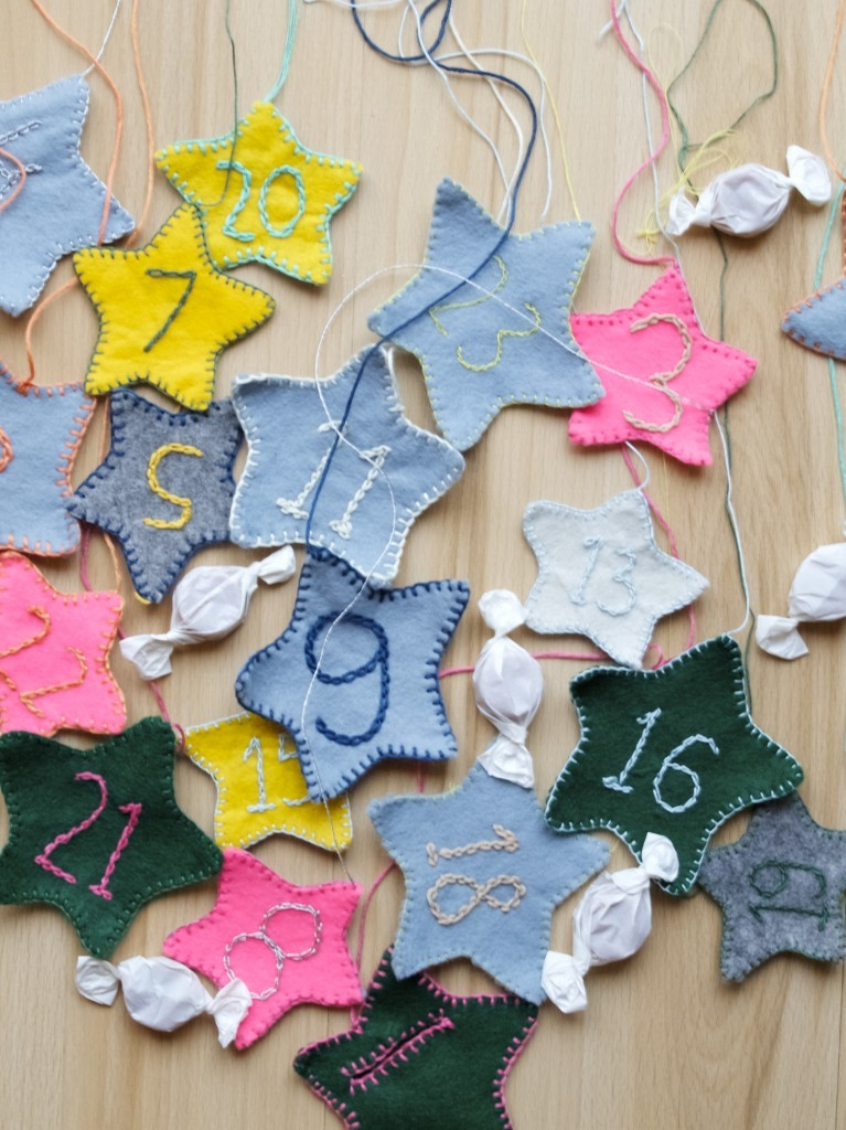 Felt stars with numbers