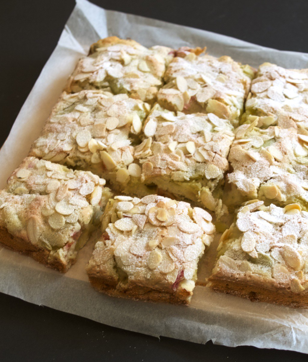 Easy rhubarb and almond cake squares - Friendly Nettle