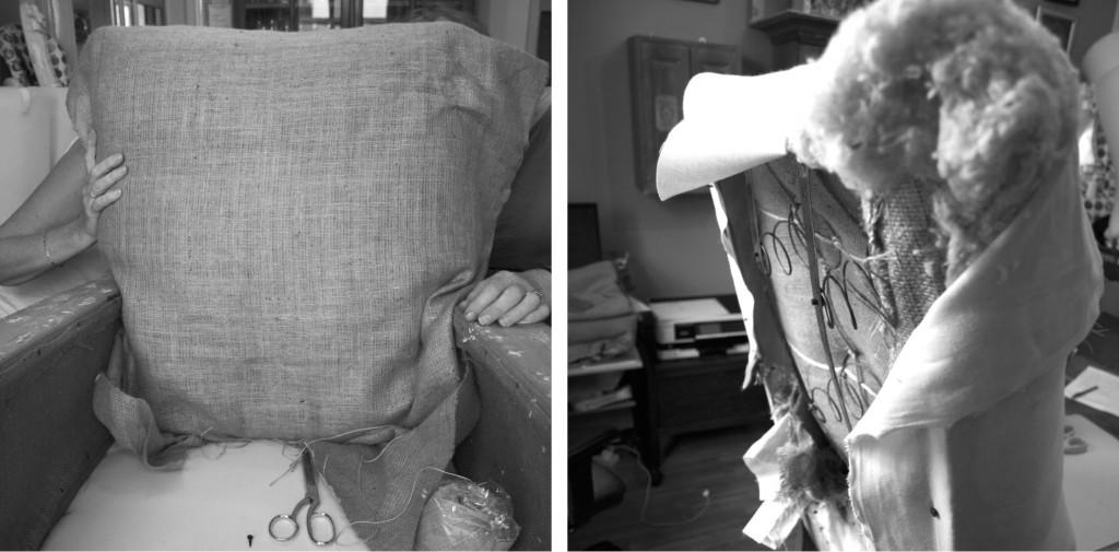 Applying hessian, wool felt and calico
