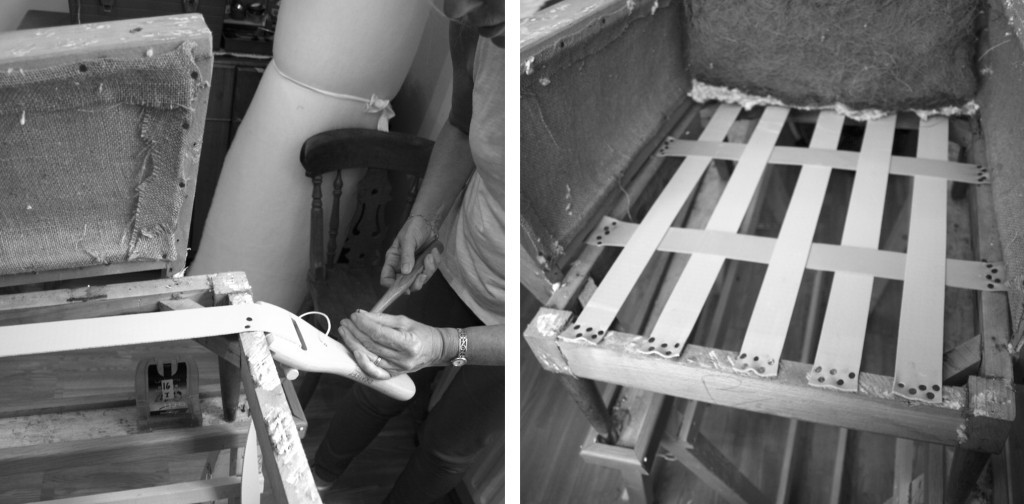 Applying webbing on the chair