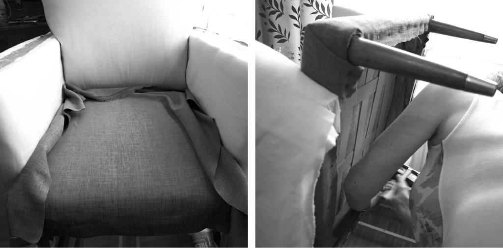 Upholstering with the top fabric