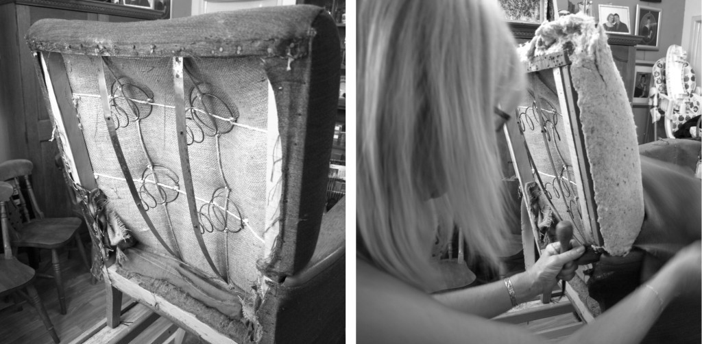 removing old upholsery from the back of the chair
