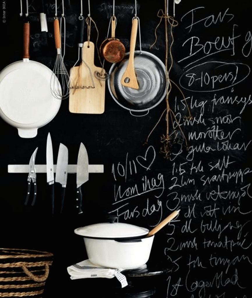 Black board wall, Ikea kitchen inspiration