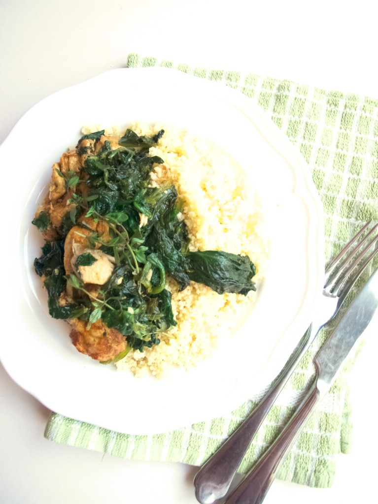 Paprika chicken & spinach with white wine butter thyme sauce recipe