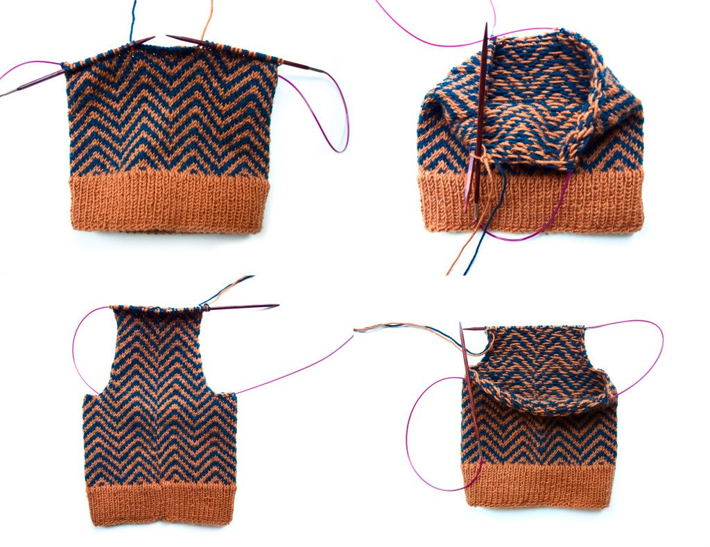 Knitting baby trousers
