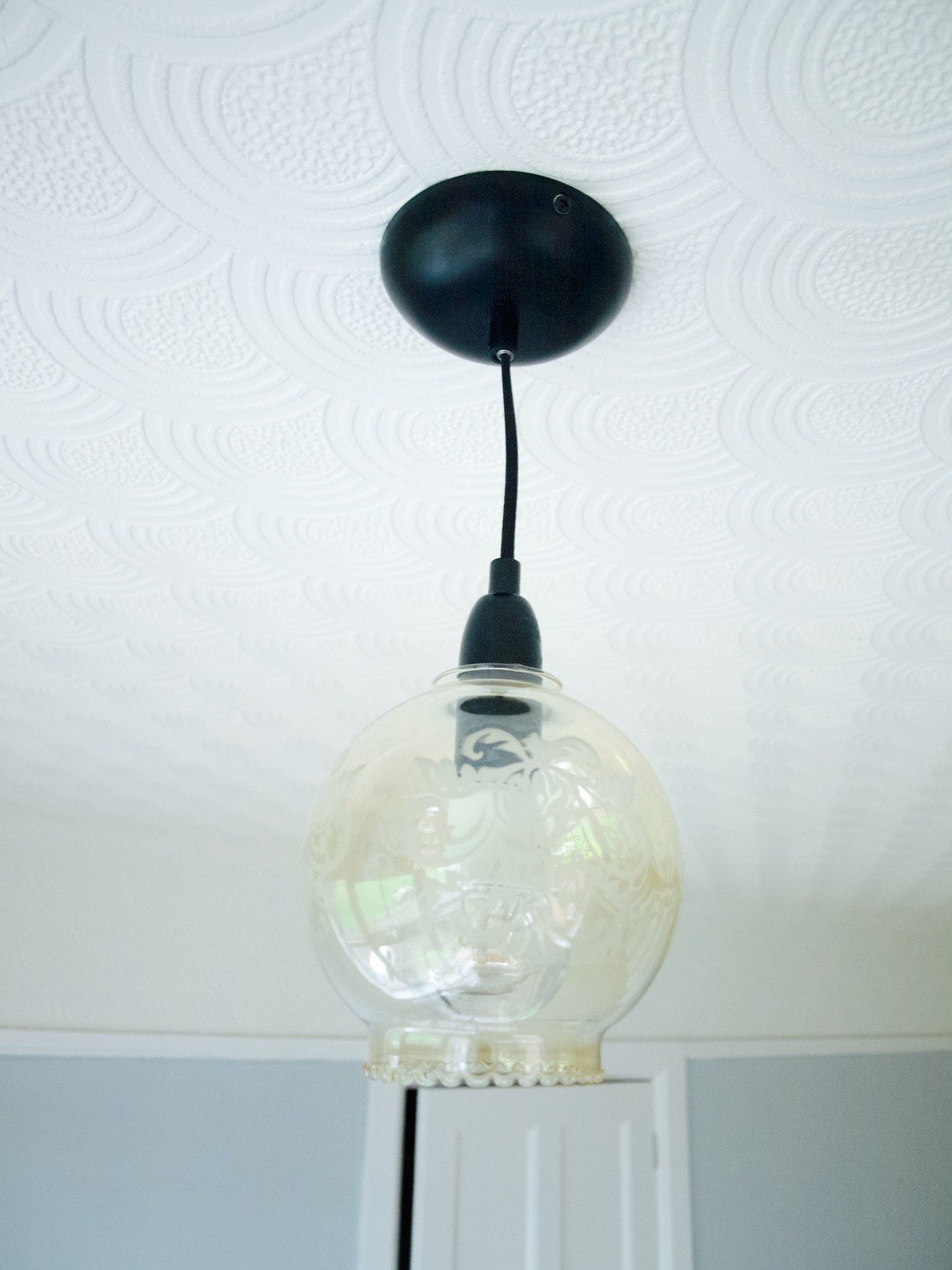 how we fitted a light fitting upcycled an old glass lamp