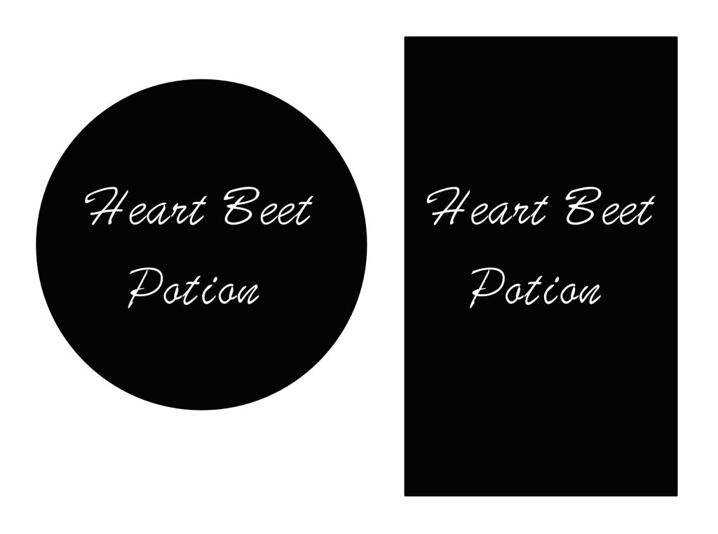 Heart Beet Potion labels