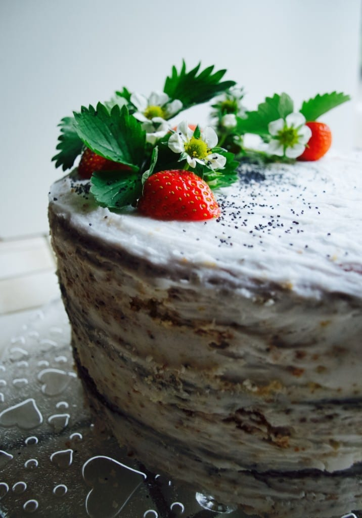 Lemon poppy seed cake with coconut butter frosting