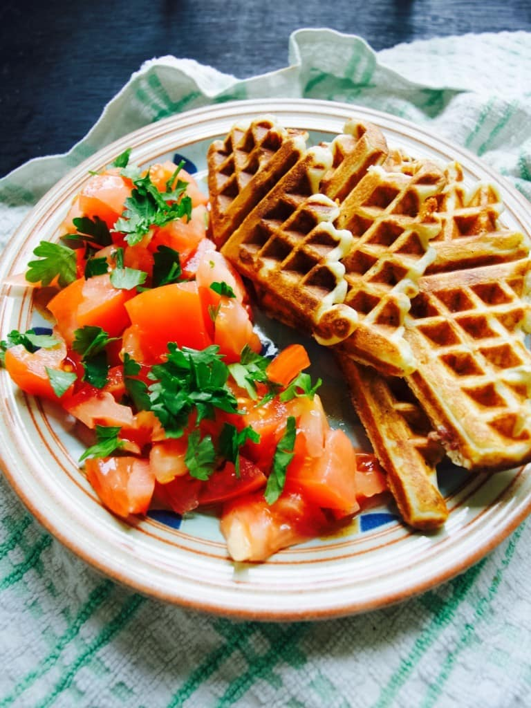 Savoury waffles with blue cheese and bacon