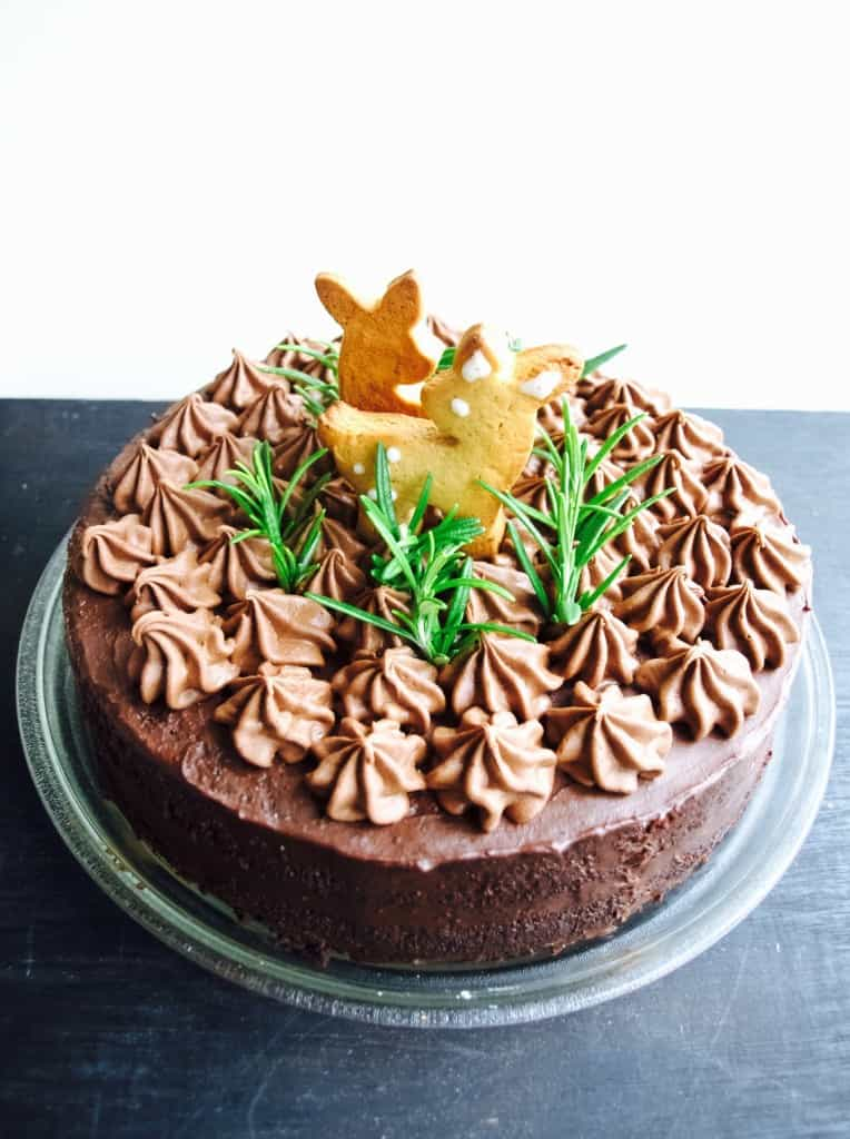Woodland themed chocolate birthday cake (dairy and gluten free version) recipe