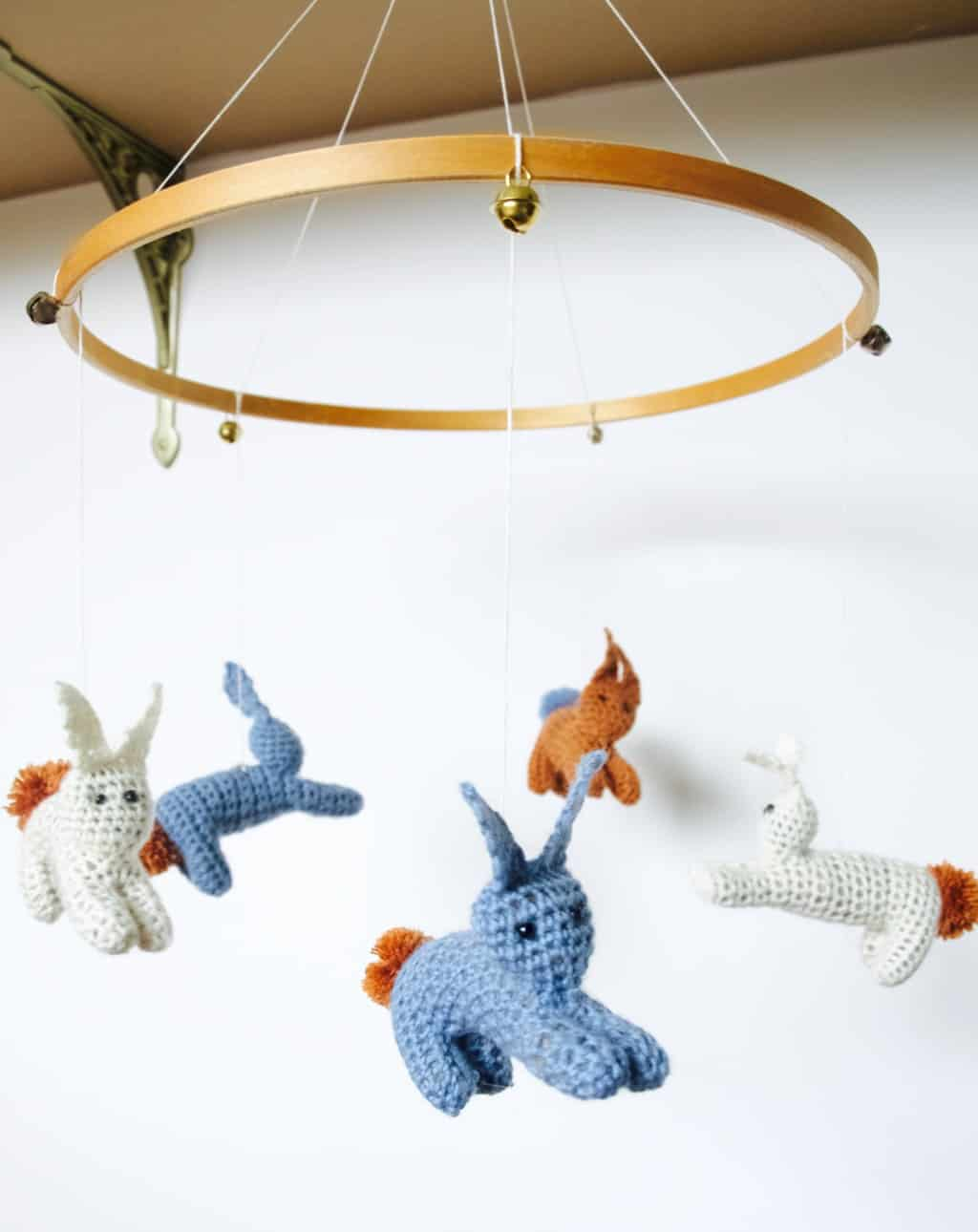 Jumping bunny baby mobile diy