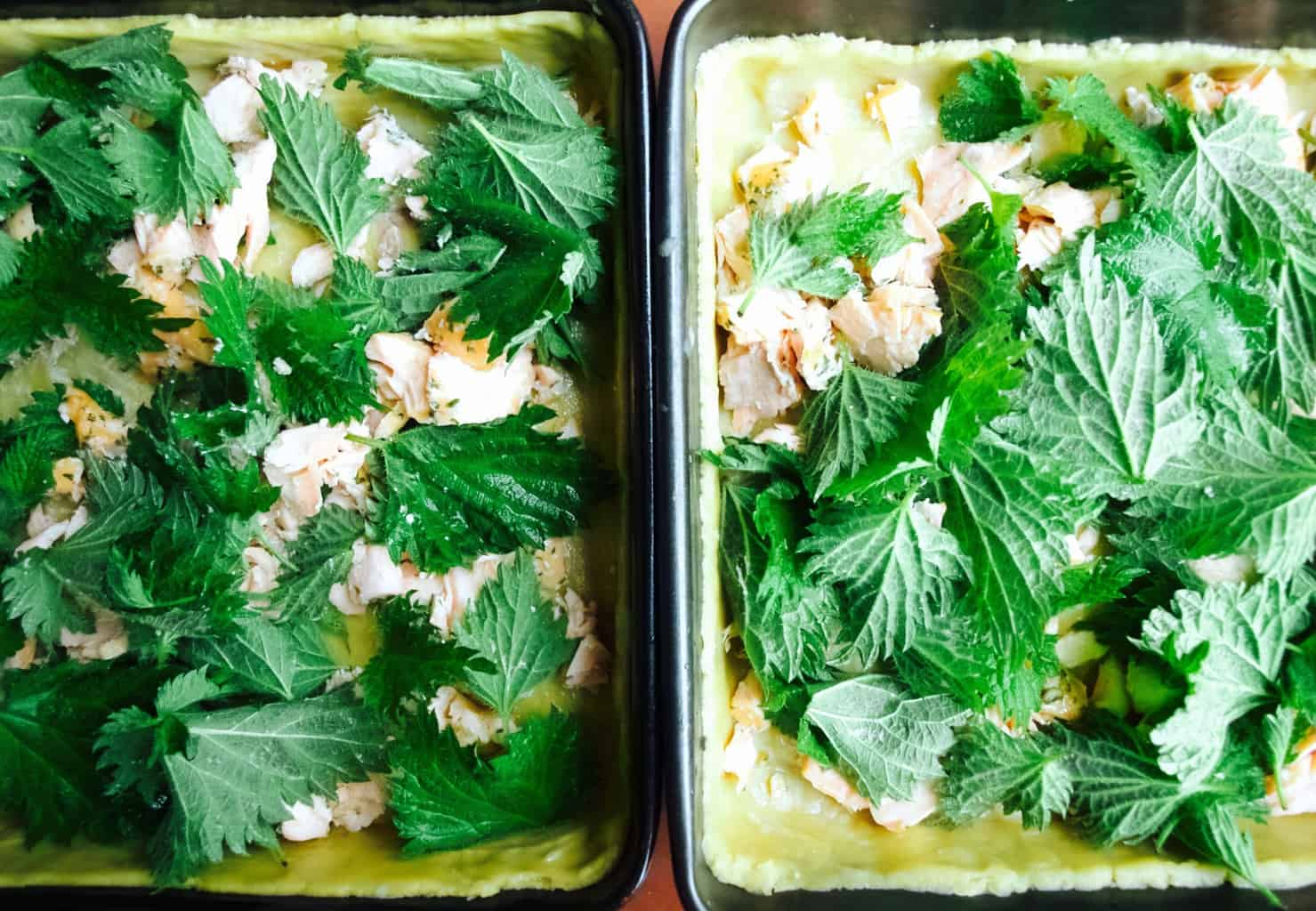 Easy salmon and nettle quiche recipe + dairy free version
