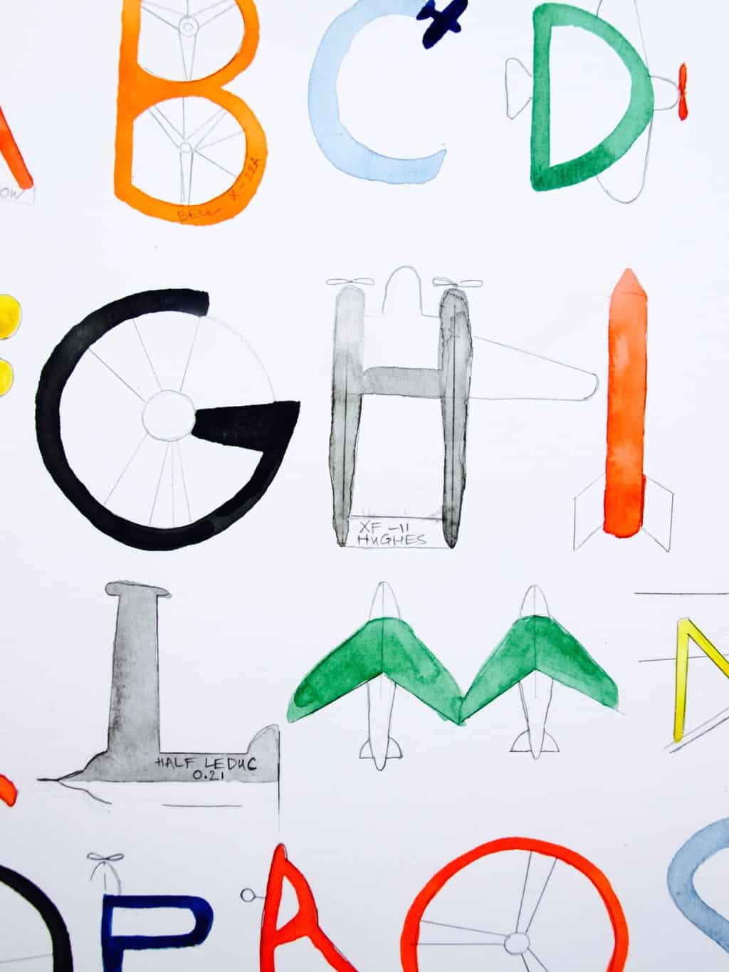 Watercolour challenge: planes and letters