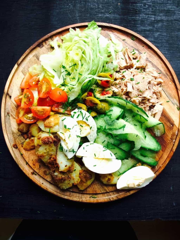 Nicoice salad in a crepe recipe