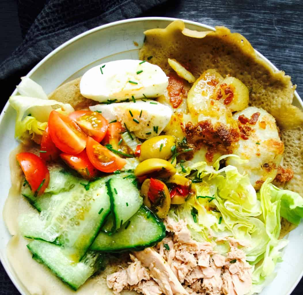 Nicoice salad in a crepe recipe