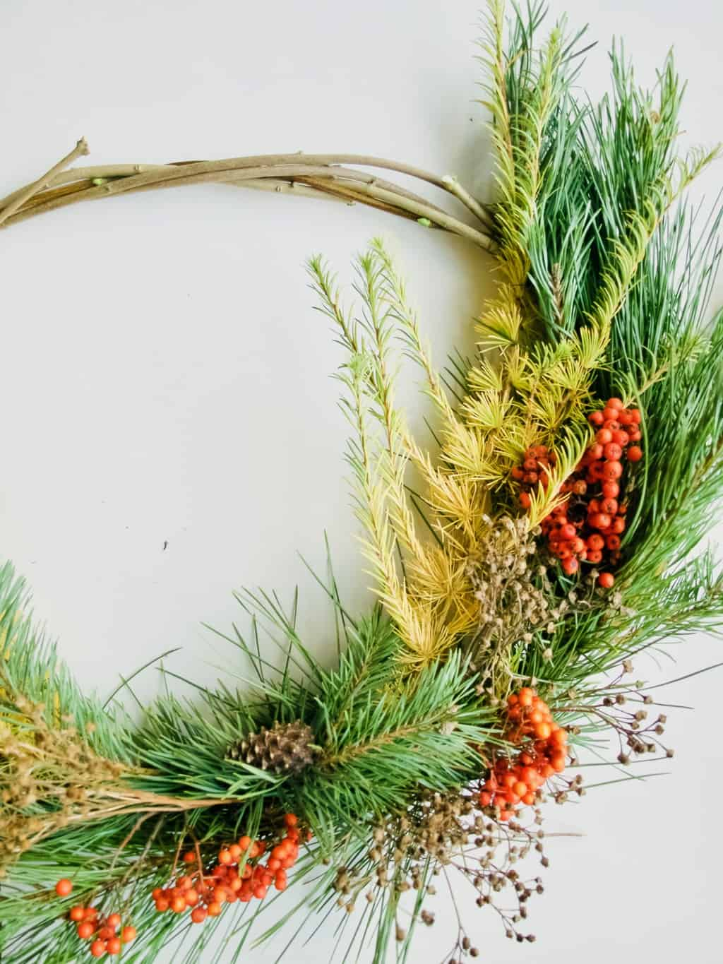 Foraged winter wreath DIY