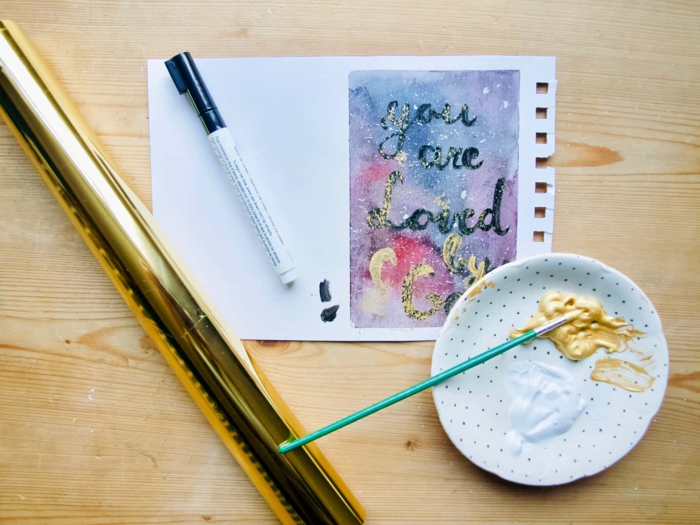 Galaxy watercolour painting for card making